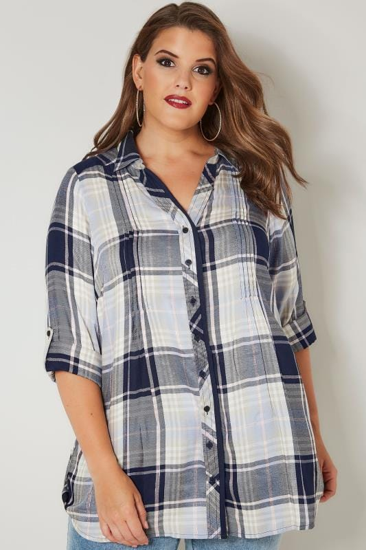 Navy & Pink Check Pintuck Longline Shirt