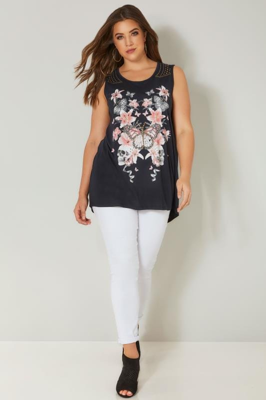 Navy & Pink Floral Butterfly Top With Stud Details
