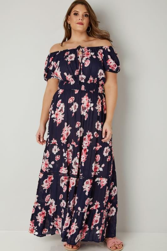 Navy & Pink Floral Print Frilled Maxi Dress With Elasticated Waist