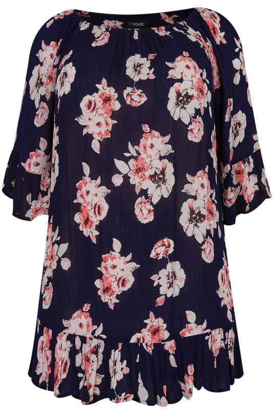 Navy & Pink Floral Print Gypsy Top With Bell Sleeves