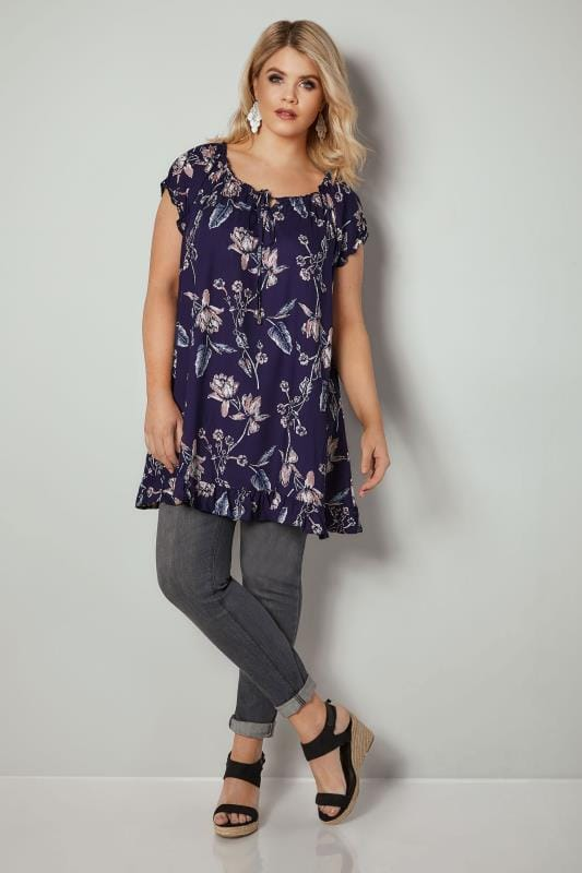 Navy & Pink Floral Print Gypsy Top With Frill Hem