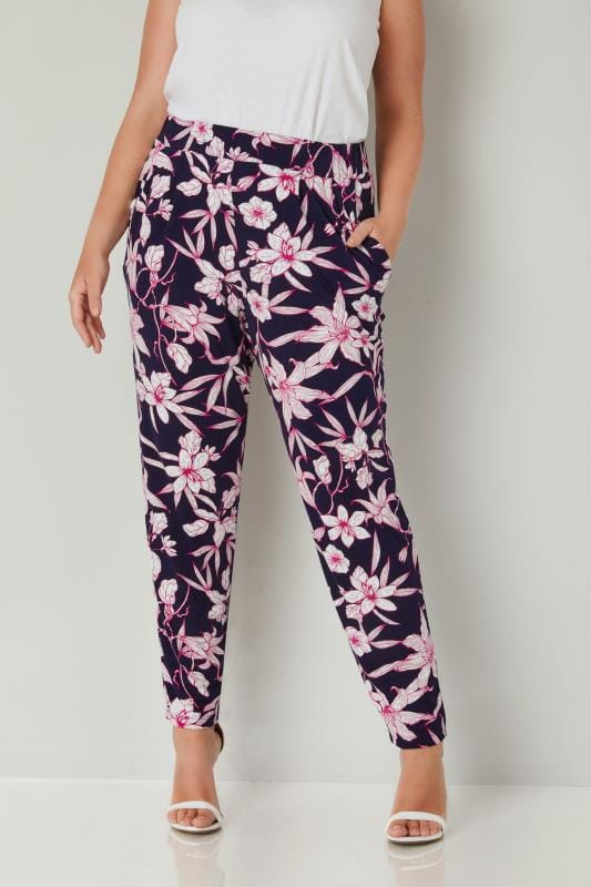 Plus Size Harem Trousers Navy & Pink Floral Print Jersey Harem Trousers