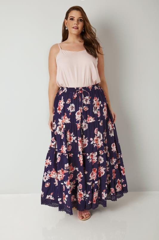 Navy & Pink Floral Print Tiered Maxi Skirt With Lace Trim Hem