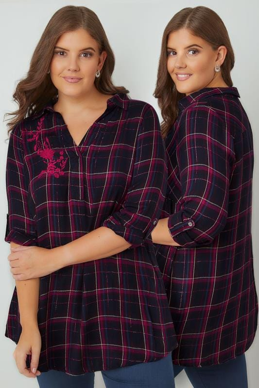 Shirts Navy & Pink Oversized Checked Shirt With Metallic Thread & Floral Embroidery 130174
