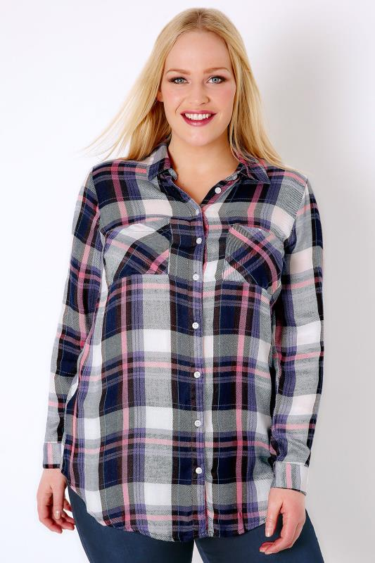 Navy, Pink & White Checked Boyfriend Shirt With Pockets