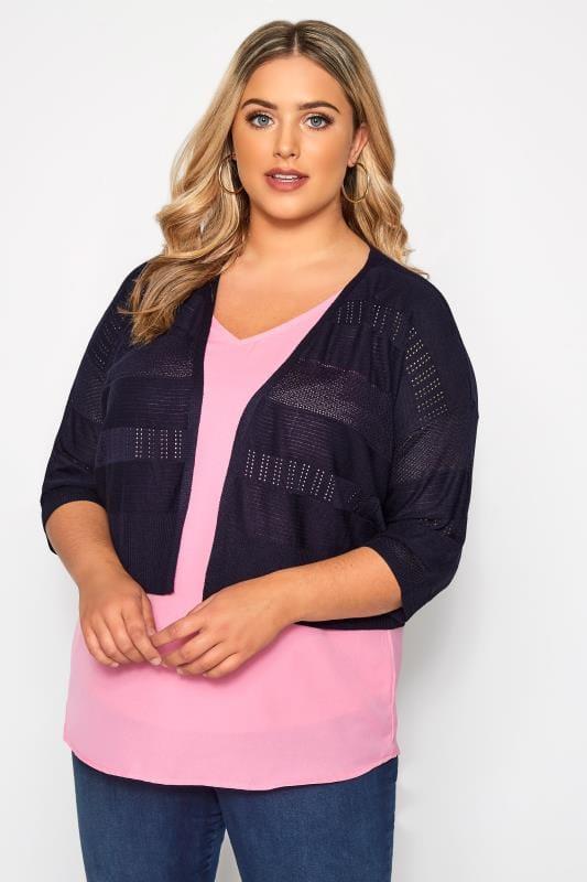 Plus Size Cardigans Navy Pointelle Cropped Cardigan