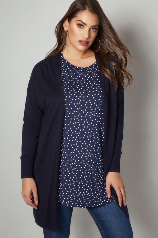 Navy Pointelle Longline Cardigan With Pockets