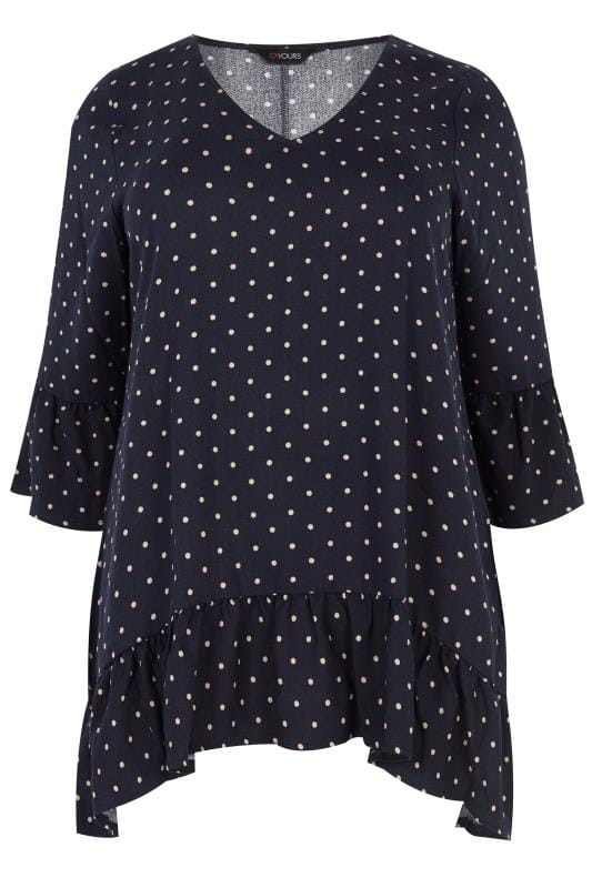 Plus Size Day Tops Navy Polka Dot Blouse