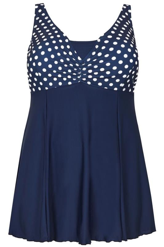 Navy Polka Dot Print Swimdress With Padded Cups