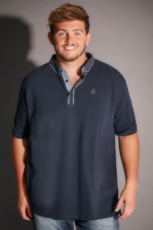 Navy Polo Shirt With Contrast Polka Dot Collar