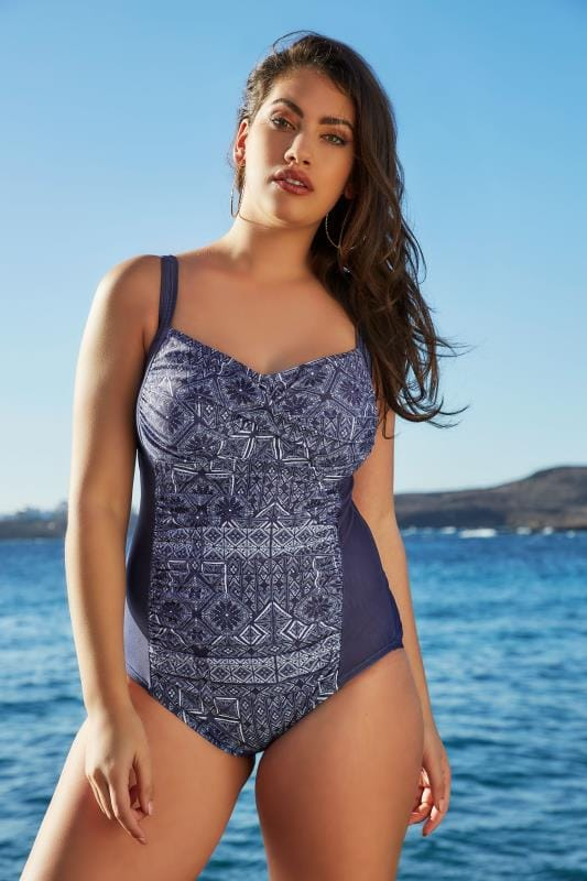 2c0e2f4292e Plus Size Swimsuits Navy Printed Ruched Swimsuit · Basket Buy