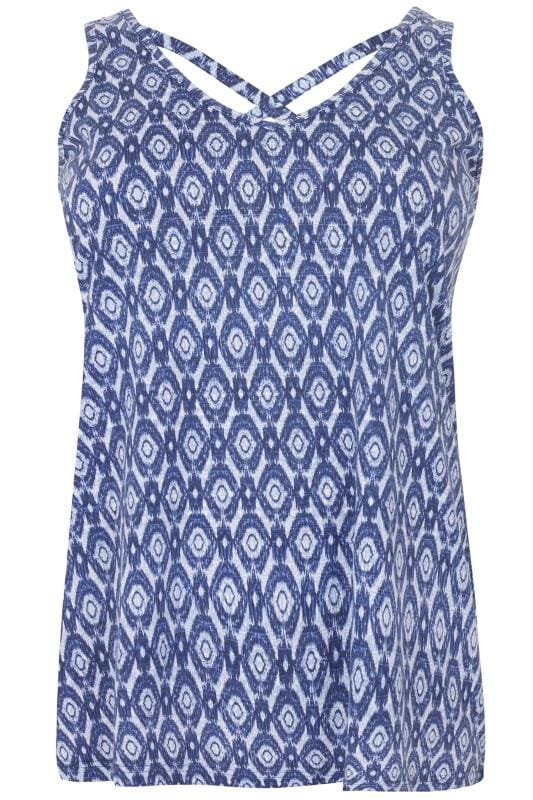 Navy Printed V-Neck Vest Top With Cross Back Detail