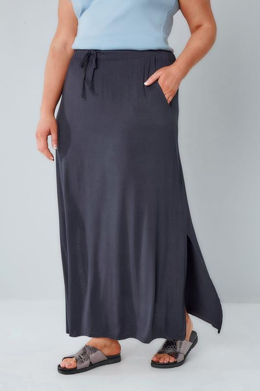 Plus Size Maxi Skirts Navy Pull On Maxi Skirt With Side Splits