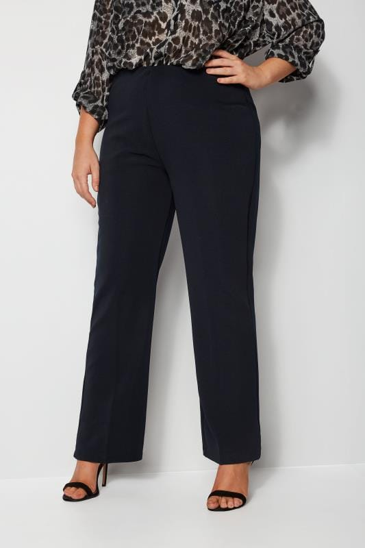 Navy Pull On Ribbed Bootcut Trousers