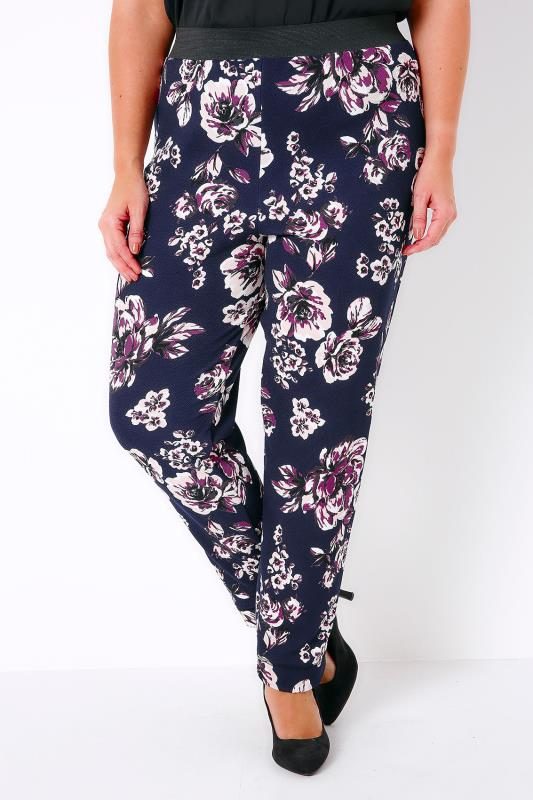 Navy, Purple & Multi Old Rose Print Trousers