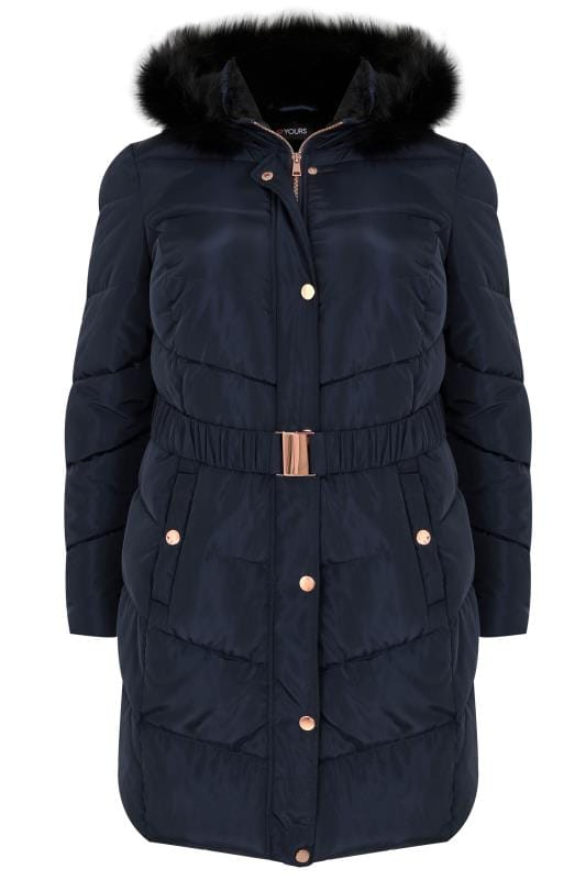 Navy Quilted Puffer Coat With Black Faux Fur Trim & Elasticated Belt