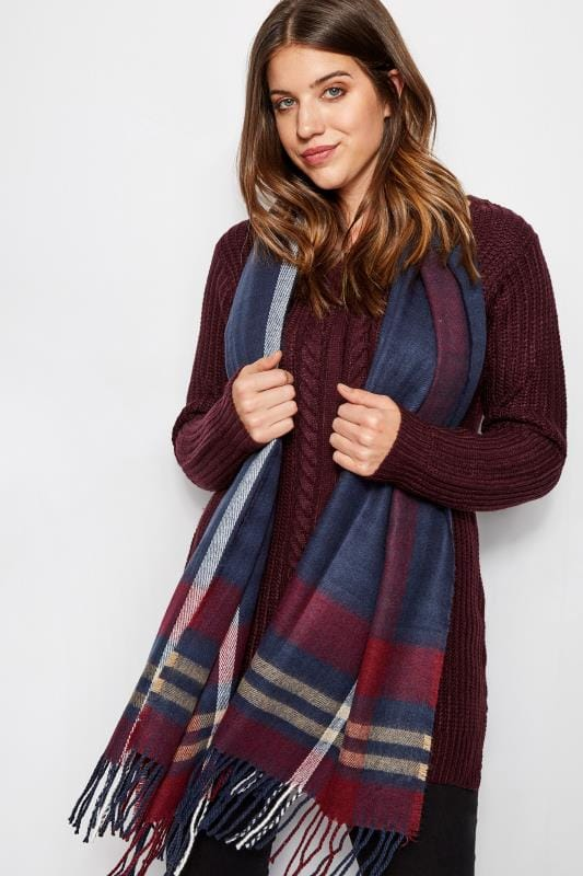 Plus Size Scarves Navy & Red Check Blanket Scarf