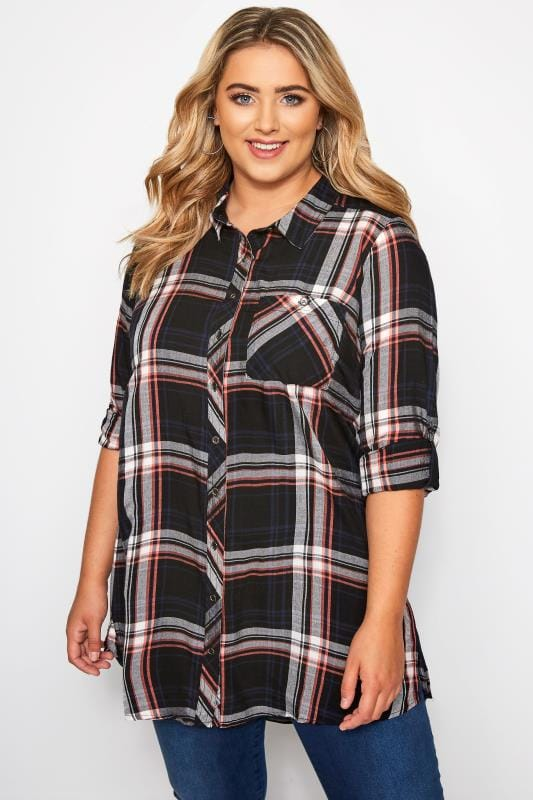 Plus Size Checked Shirts Navy & Red Check Boyfriend Shirt