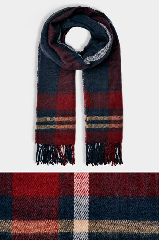 Plus Size Scarves Navy & Red Check Oversized Blanket Scarf With Fringe Edge