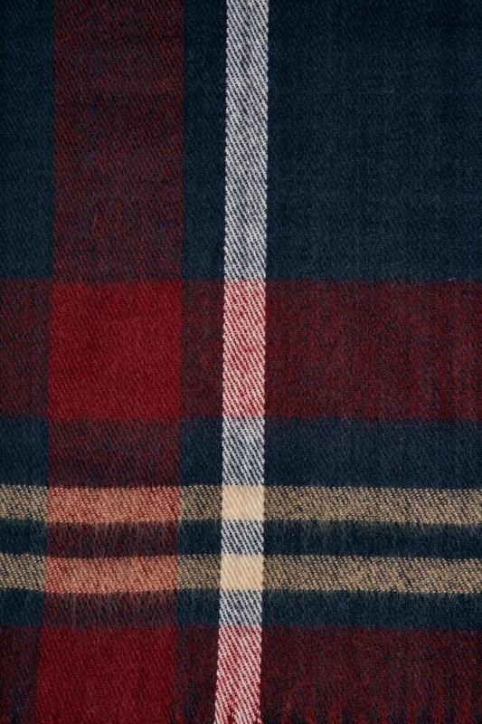 Navy & Red Check Blanket Scarf