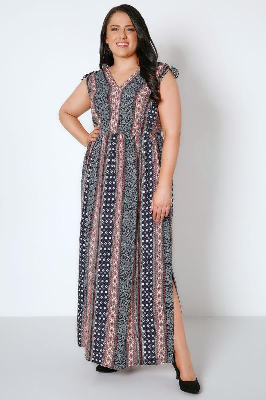 Navy & Red Mixed Print Maxi Dress With Side Splits