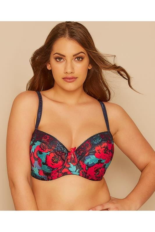 Navy & Red Poppy Print Satin Balcony Bra
