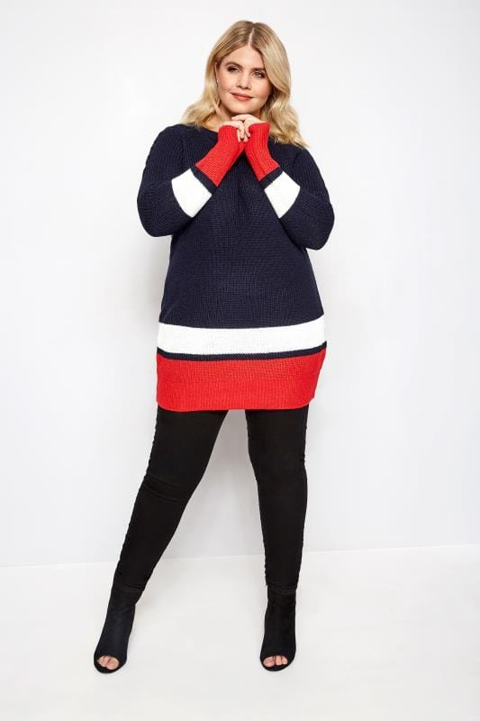 Navy, Red & White Stripe Jumper With Laced Shoulders