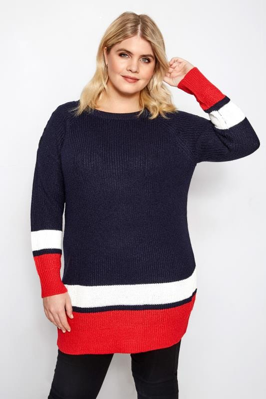 Plus Size Sweaters Navy, Red & White Stripe Jumper With Laced Shoulders