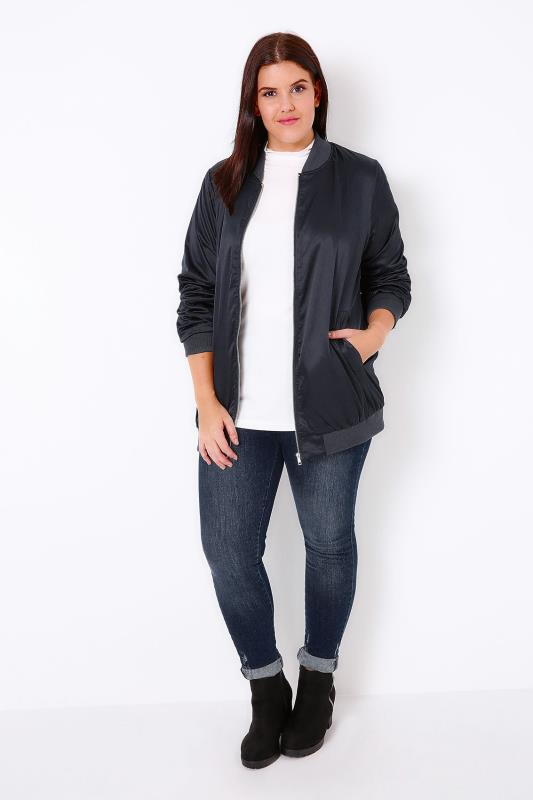 Navy Satin Longline Bomber Jacket *New Longer Length*