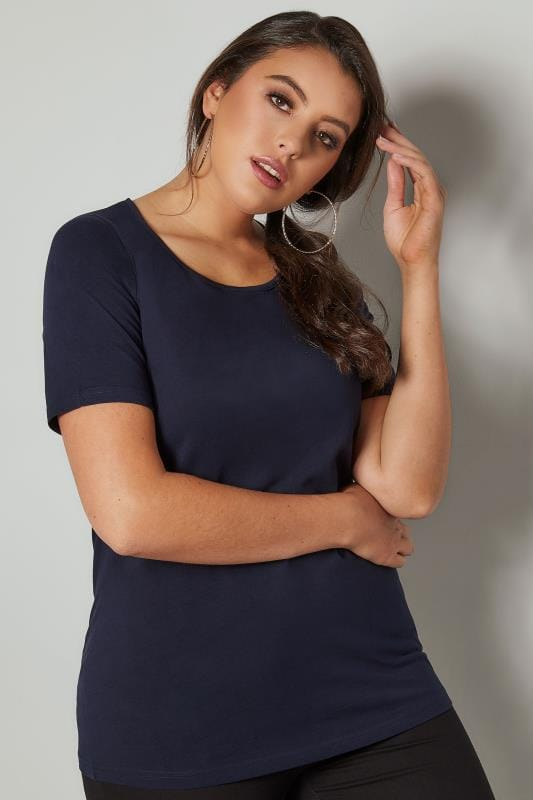 Plus Size Basic T-Shirts & Vests Navy Scoop Neck Basic T-Shirt