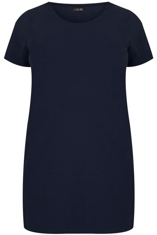 Navy Scoop Neck Longline Jersey T-Shirt, plus size 16 to 36