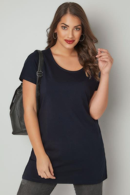Plus Size Jersey Tops Navy Scoop Neck Longline Jersey T-Shirt