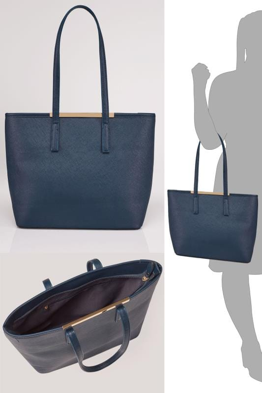 Navy Shopper Bag With Metal Bar Detail