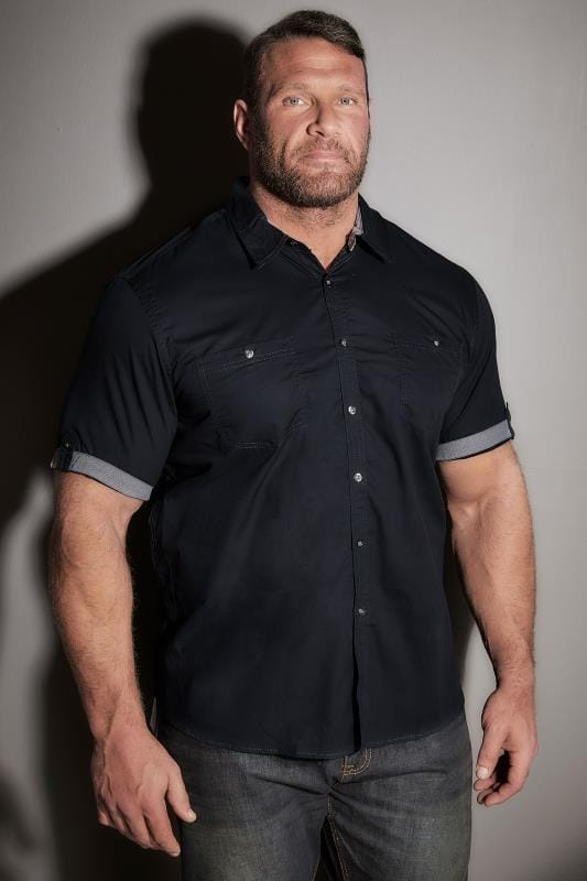 Navy Short Sleeve Shirt With Front Pockets & Contrast Cuffs