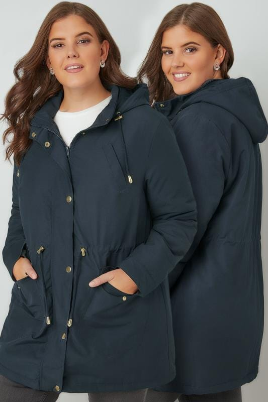 Navy Shower Proof Hooded Parka Coat