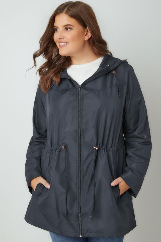 Plus Size Parkas Navy Pocket Parka Jacket