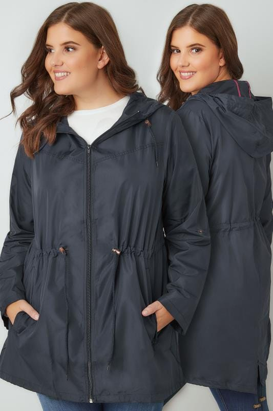 Plus Size Parka Coats Navy Pocket Parka Jacket With Hood