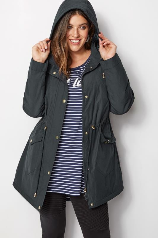 Plus Size Coats Navy Showerproof Coat