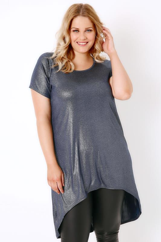 Navy & Silver Foil Top With Extreme Dipped Hem