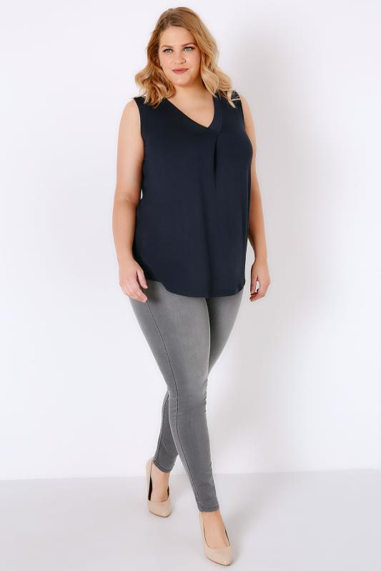 Navy Sleeveless V-Neck Jersey Top