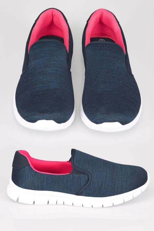 Wide Fit Trainers Navy Slip On Trainers With Memory Foam Insole In TRUE EEE Fit