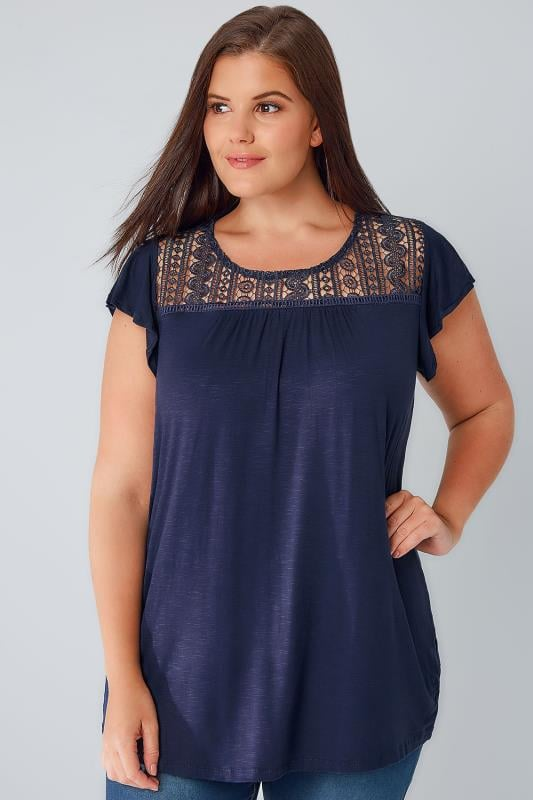 Navy Soft Textured Jersey Top With Crochet Panel
