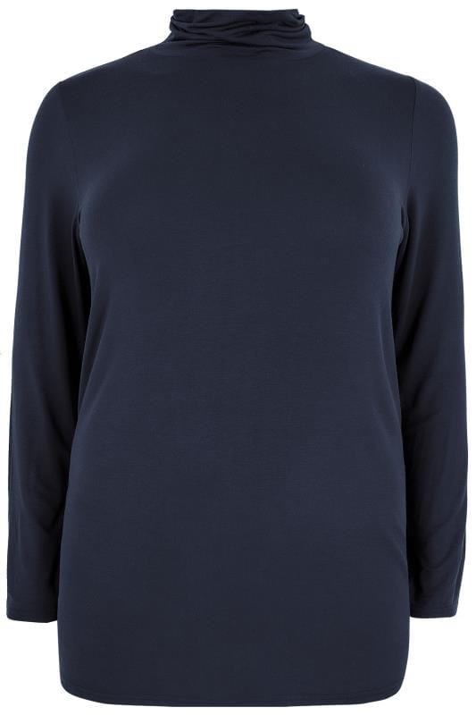 Navy Soft Touch Turtle Neck Jersey Top With Long Sleeves