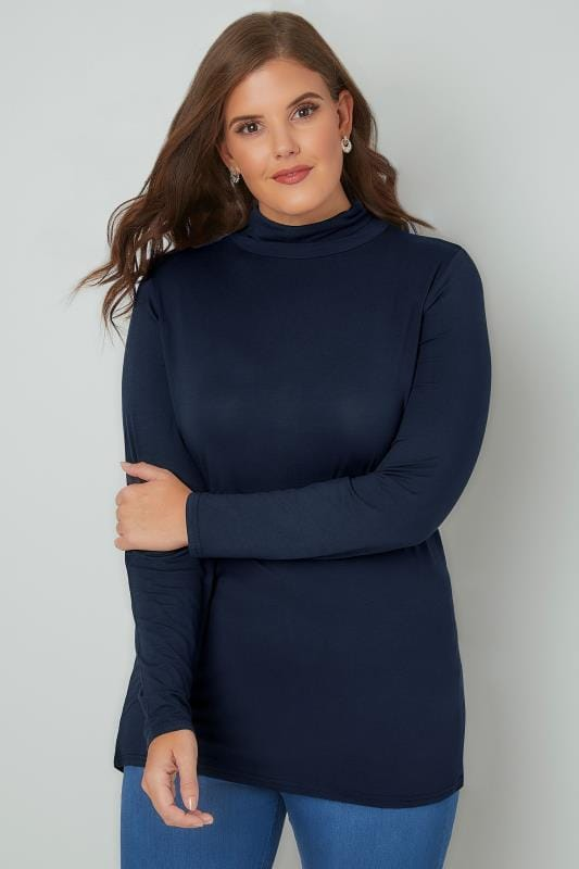 Plus Size Jersey Tops Navy Soft Touch Turtle Neck Jersey Top With Long Sleeves