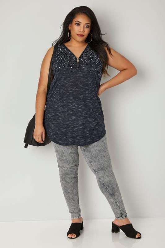 Navy Star Embellished Vest Top With Zip Front