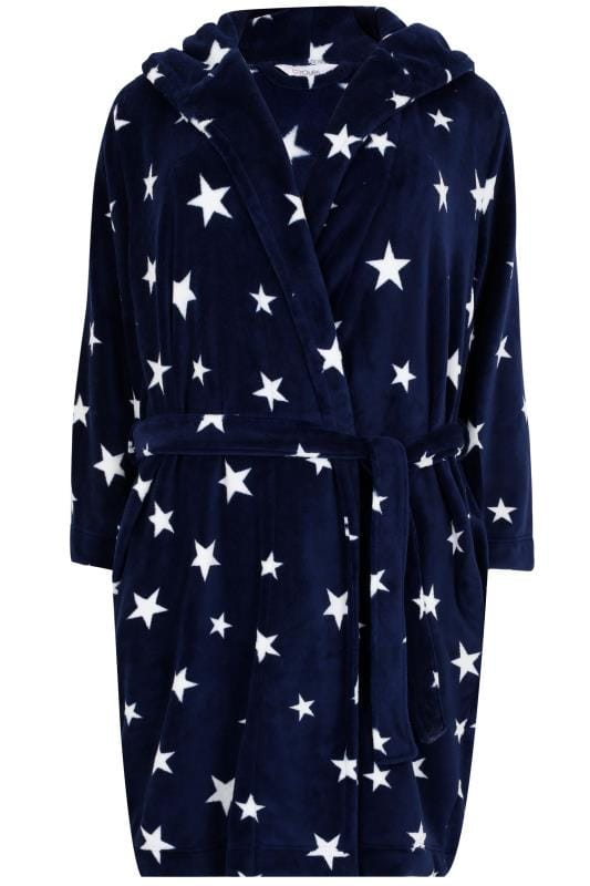 Navy Star Print Dressing Gown With Hood, Plus size 16 to 36