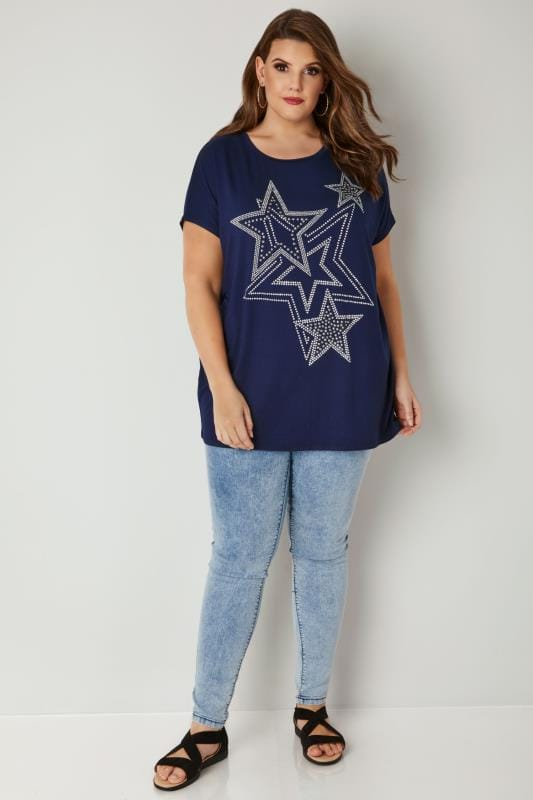 Navy Star Stud Jersey T-Shirt