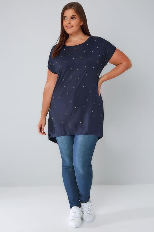 Navy Star Studded T-Shirt With Curved Hem