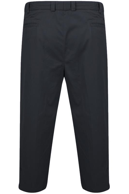 Navy Stretch Waist Chino Trousers With Pleats
