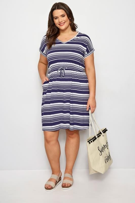 Plus Size Sleeved Dresses Navy Stripe T-Shirt Dress